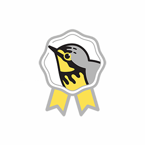 A cute graphic showing the face of a Canada Warbler on a prize medal